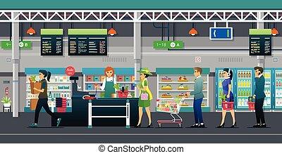értékesítések, élelmiszer áruház, kereskedik