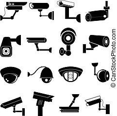 értékpapírok fényképezőgép, állhatatos, ikonok