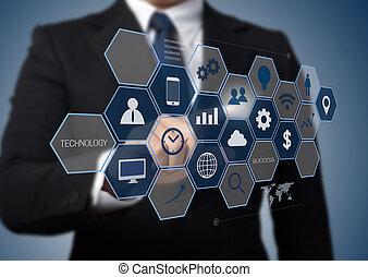 értesülés, dolgozó, ügy, modern, határfelület, bábu computer, technológia, fogalom