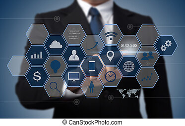 értesülés, fogalom, ügy, dolgozó, modern, számítógép, határfelület, technológia, ember