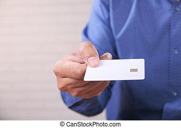 értesülés, kártya, birtok, hitel, felolvasás, kéz