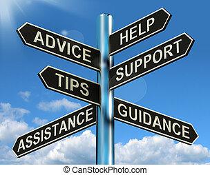 értesülés, segítség, útjelző tábla, tanács, eltart, meglegyintés, tanácsadás, látszik