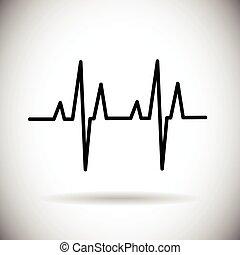 érverés, orvosság, szív ütés, ikon