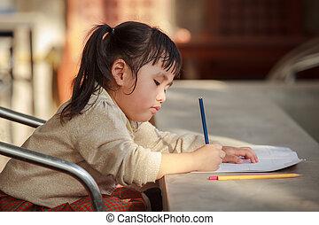 érzelem, ceruza, iskola munka, sárga, kéz, ázsiai, otthon, gyerekek, boldogság