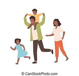 érzelem, emberek, öröm, móka, gyerekek, elszigetelt, boldog, fekete, karikatúra, együtt, vektor, illustration., család, szülők, futás, white., birtoklás, mosolygós, lakás, bőr, pozitív, bír, játék