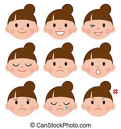érzelmek, állhatatos, karikatúra, arc