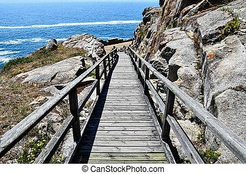 észak, európa, fénykép, út, tenger, spanyolország, galicia, háttér