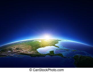 észak, felett, felhőtlen, földdel feltölt, amerika, napkelte
