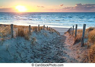 észak, felett, napnyugta, tenger, út, tengerpart