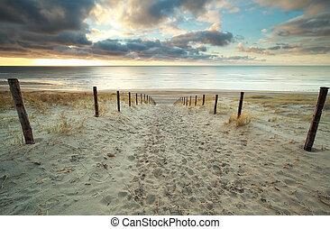 észak, homok, napnyugta, tenger, út, tengerpart