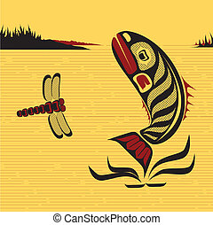 észak, kanadai, nyugat, fish, vektor, művészet, bennszülött