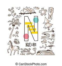 észak, mód, szórakozottan firkálgat, sorozat, csinos, természet, -, levél, abc