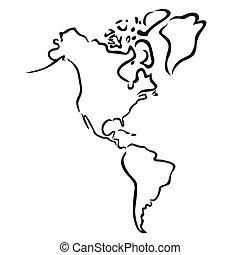 észak, térkép, amerika, déli