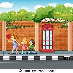 ételadag, gyerekek, utca, kereszt, felnőtt