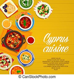 étkezés, ciprus, ciprusi, poszter, konyha, karikatúra, vektor