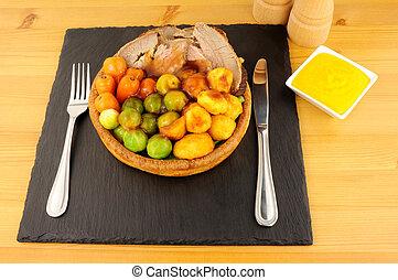 étkezés, puding, sült izomzat, yorkshire