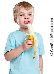 étkezési, alak, egészséges, elszigetelt, haj, gyümölcs, szőke, gyermek, portré, fehér, banán, kölyök