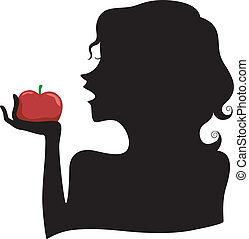 étkezési, leány, árnykép, alma, piros