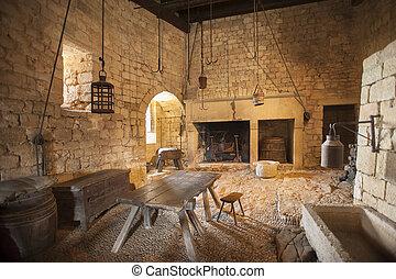 étkező, konyha, középkori, terület
