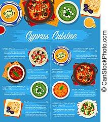 étrend, étkezés, ciprus, ciprusi, konyha, kávéház, vektor