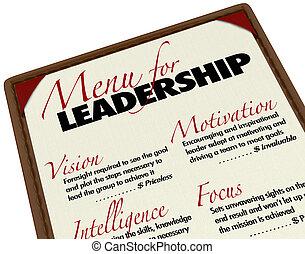 étrend, kívánatos, menedzser, vezetés, qualities, vezető