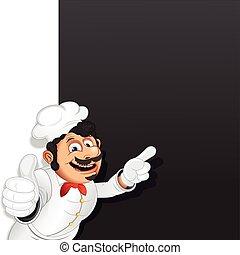 étrend, séf, szakács, vektor, sablon, chalkboard.