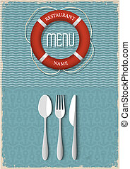 étrend, tenger gyümölcsei, tervezés, retro, étterem