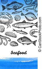 étrend, tenger gyümölcsei, tervezés, template.