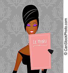 étterem, fekete, sikk, felolvasás, nő, tapéta, étrend, damaszt, fiatal