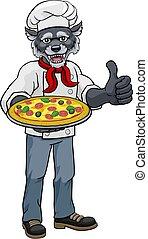 étterem, pizza, séf, karikatúra, kabala, farkas