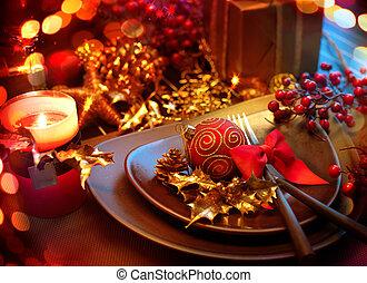 év, új, asztal, setting., ünnep, christmas celebration