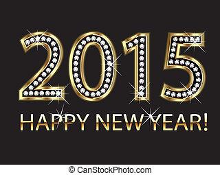 év, 2015, boldog, háttér, új