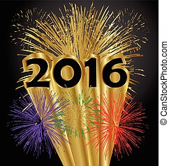 év, boldog, tűzijáték, 2016, új