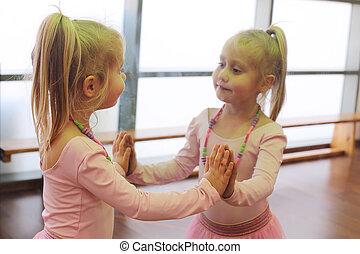 év, csinos, 5, öreg, balerina