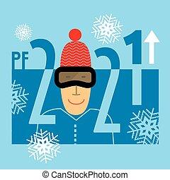 év, köszönés, snowflakes., 2021, furcsa, síelő, kártya, új