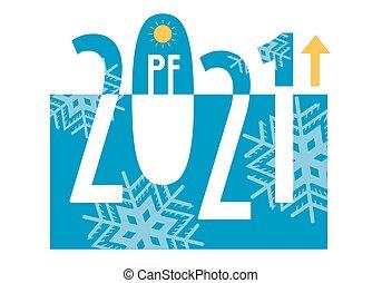 év, köszönés, snowflakes., 2021, kártya, új