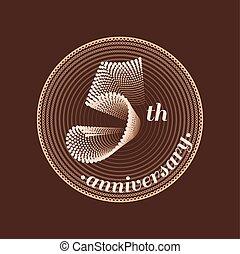 év, vektor, 5, évforduló, ikon
