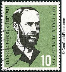 évszázad, bélyeg, fizikus, -, hertz, 1957, (1857-1894), németország, nyomtatott, születés, cirka, 1957:, henrik, látszik
