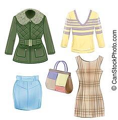 évszaki, állhatatos, lány, öltözék