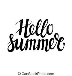 évszaki, nyár, vagy, vektor, húzott, meghívás, felirat, szia, elszigetelt, kéz, háttér., holiday., más, sablon, fél, frázis, fehér, kézírás, texture., kártya, köszönés