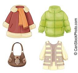 évszaki, ruha, állhatatos, bőr, kitömött, girls., csuklyás katonai zubbony, öltözék