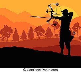 íjászat, árnykép, természet, conc, vektor, háttér, aktivál, sport