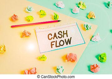 írás, cseppfolyósság, mozgalom, szó, kék, üres, gyűrött, ki, készpénz, színezett, clothespin., figyelmeztetés, szöveg, affecting, flow., sárga, fogalom, pénz, hajópapírok, háttér, ügy