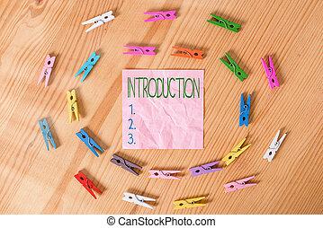 írás, lény, szöveg, hajópapírok, kiállítás, cselekedet, eljárás, emelet, bevezető, háttér, fénykép, ügy, introduction., gyűrött, kezezés elpirul, fából való, fogalmi, vagy, állam, :, clothespin., bevezetett