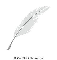 írás, tollazat, ikon