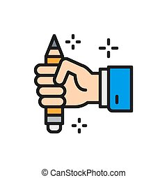 író, icon., kéz, copywriting, lakás, rudacska elpirul