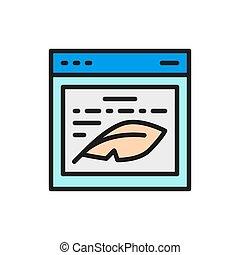 író, icon., prose, bemutatás, szöveg, lakás, website, szín