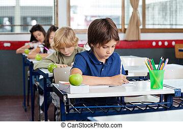 íróasztal, írás, előjegyez, iskolások