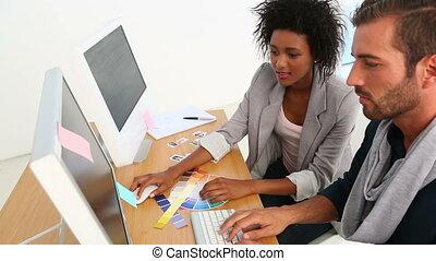 íróasztal, dolgozó, tervezés, befog
