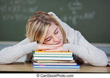íróasztal, előjegyez, kazalba rakott, diák, alvás